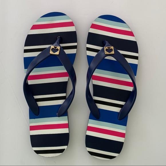 Kate Spade Oceanic Blue Striped Flip Flops